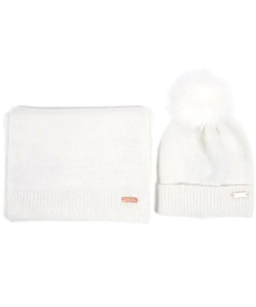 Women's Barbour International Knitted Hat and Scarf Gift Set
