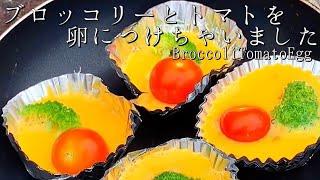 【簡単おかず】ブロッコリーとトマトを卵に入れちゃいました★お弁当/アウトドア料理・レシピ/キャンプ飯/broccoli tomato egg バーベキュー