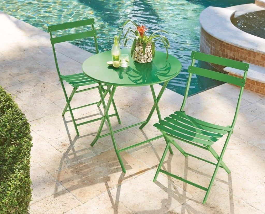 green metal bistro chairs space saving outdoor folding set reviews patio sets