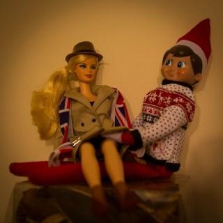 Naughty Elf on the Shelf with Barbie