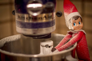 Elf on the shelf cooking cookies for Santa with Kitchen Aid
