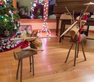 Elf on the Shelf loves the thrill of jousting on the back of a Reindeer. Barbie loves it too