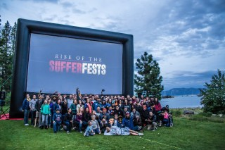 Large outdoor movie screen by lake Tahoe - Rise of the Sufferfests