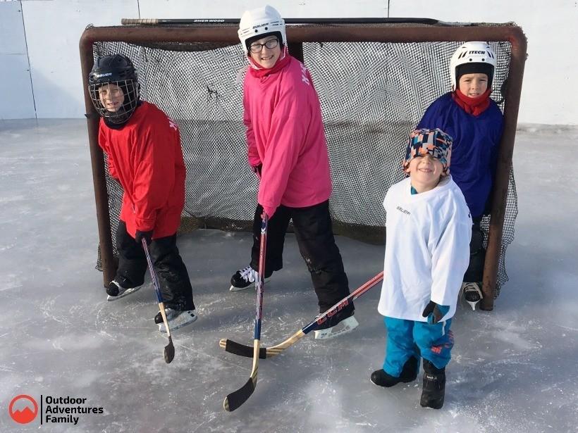 Old steel hockey net