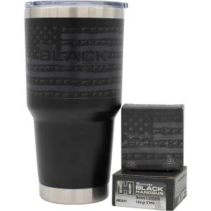 Top Hornady 32 oz Tumbler and 9mm Luger 124-grain XTP Ammo Combo Pack