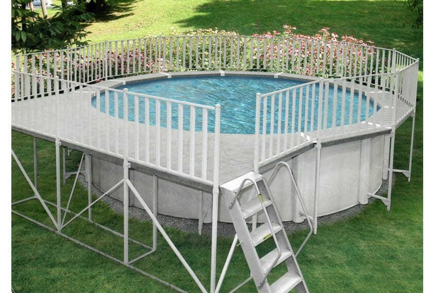 Some Above Ground Pools Will Be Sold With Accompanying Aluminium Decking.  Whether This Is A Small Stairway And Platform Or Full Surround Will Depend  On The ...