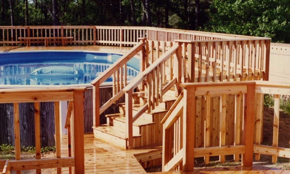 wood decks are the most popular choice if you have opted for an above ground pool on a budget the most versatile and affordable decking to opt for is the - Above Ground Pool Steps Wood