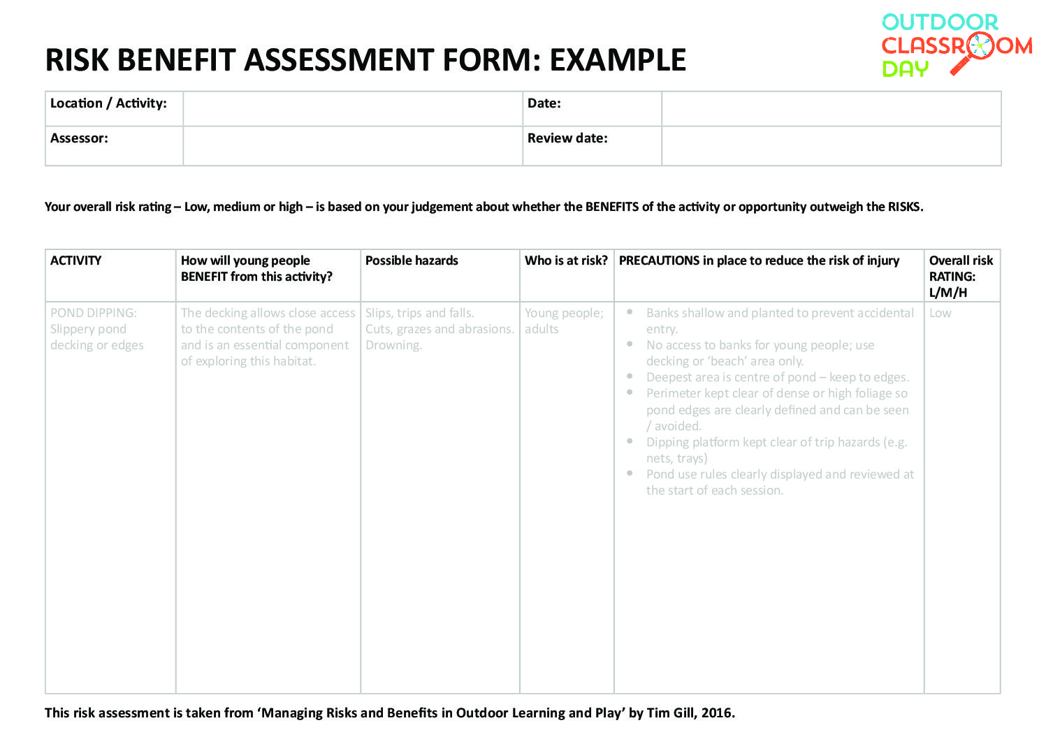 AUS - Risk assessment form - Outdoor Classroom Day Australia