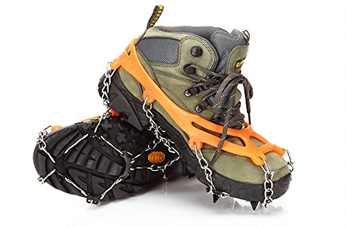 WZT Ice Snow Shoes Grips Traction Cleats Grippers Crampons for Outdoor Walking HIGH QUALITY MANGANESE STEEL TEETH: High-quality manganese steel teeth framework gives magnificent footing on an assortment of cold surfaces. Vital position of spikes guarantees square with circulation of weight for durable solace and durability.  EASY TO WEAR AND WALK WITH CONFIDENCE: High quality Plastic Elastomer (TPE) gives an adaptable, lightweight, throughout the day footing solution.They fit effortlessly and safely finished your own particular shoes or boots that make you strolling unquestionably on any condition.  MORE SAFE AND DURABLE - The connection of this snow footing spikes utilize welding chain and more grounded treated steel chain. These Mountaineering Crampons would give 360 degrees of footing on cool surfaces for all-course stability.