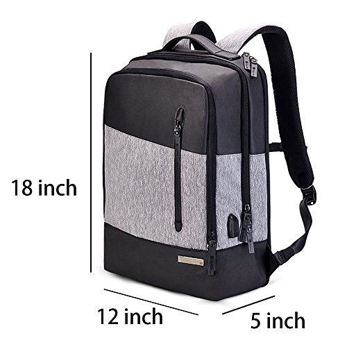 Smart Laptop Backpack with Folding Stool ★2 in 1 rucksack and seat across the board adaptable unit Tubular steel outline development, lightweight nylon knapsack material with USB charging port.  ★Made of high caliber 300D oxford cloth,durable,waterproof. Various pockets design,huge limit, can keep you umbrella,water bottle,magazine,laptop, wallet, telephone and snacks organized.  ★Folding solid steel development seat. High-force steel tube, simple to set up, stand stable, can hold weight up to 300 lbs.  ★Dimensions : 18x12x5 in , Weight: 4LB