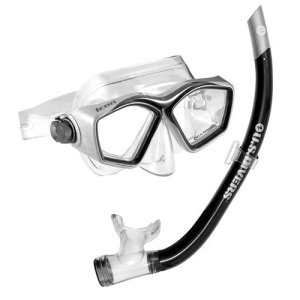 U.S. Divers Icon Mask + Airent Snorkel Set. Easily Adjustable Snorkeling Set for Adults (One Size Fits Most)