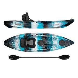 Vibe Kayaks Skipjack 90 | 9ft Angler - Single Person, Sit On Top Fishing Kayak w/Paddle & Deluxe Kayak Seat