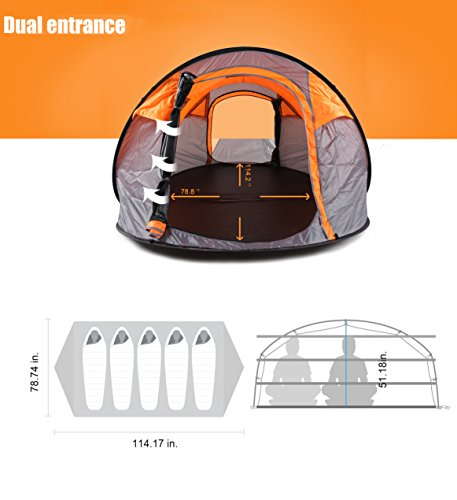Oileus XL Instant Pop Up Tents for Camping 5-6 Person Tent with Sky-window Easyup-Fast Pitch Oileus XL Instant Pop Up Tents for Camping 5-6 Person Tent with Sky-window Easyup-Fast Pitch & Fold with 14 Reinforced Steel Stakes & Carrying Bag Ideal for Family Backpacking Hiking. 