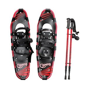 """Gpeng Snowshoes 14""""/21""""/25""""/27""""/30"""" for Adults Men Women Youth Kids with Pair Antishock Snowshoeing Poles"""
