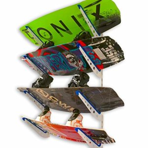 StoreYourBoard Wakeboard Wall Storage Rack | Metal Adjustable 4 Wakeboard and Wakesurf Mount