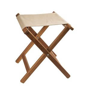 Folding Camp Stool with Khaki Canvas Seat
