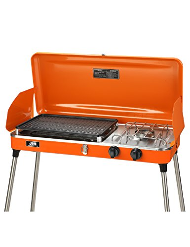 JIMI Outdoor Dual-Burner Camping Grill/Stove Portable Gas Grill Tailgating Cooker with Hose and Adapter
