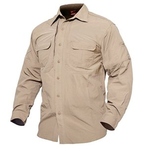 MAGCOMSEN Men's Quick Dry Breathable Long Sleeve Anti-Rip Shirt for Work Travel Military