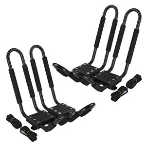 LEAGUE&CO 2 Pair J-Bar Rack Kayak Carrier Canoe Boat Paddle Board Surfboard Roof Top Mount on Car SUV Crossbar
