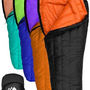 Goose Down Sleeping Bag for Backpacking – Eolus 15 & 30 Degree F 800 Fill Power Ultralight
