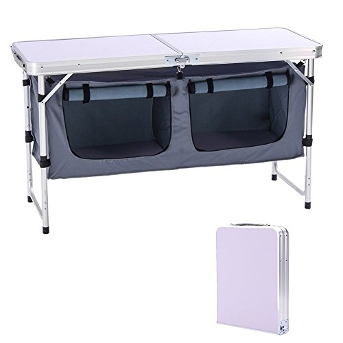 CampLand Outdoor Folding Table Aluminum Lightweight Height Adjustable with Storage Organizer for BBQ, Party, Camping