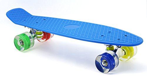 "Merkapa 22"" Complete Skateboard with Colorful LED Light Up Wheels for Beginners"
