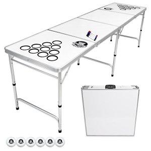 GoPong 8 Foot Portable Beer Pong / Tailgate Tables (Black, Football, American Flag, or Custom Dry Erase)