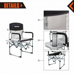 Heavy Duty Folding Chair With Side Table Fabric Covered Office Chairs Kingcamp Compact Camping Mesh And Handle
