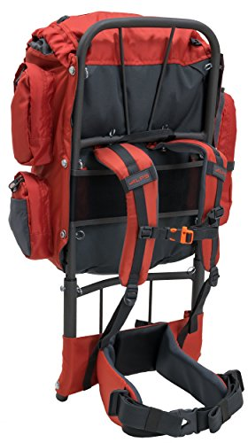 """ALPS Mountaineering Red Rock External Frame Pack, 34 Liters ALPS Mountaineering Red Rock External Frame Pack, 34 Liters.   Lightweight polyester with Lycra secured suspension components  Removable sternum tie and draw forward fixing abdomen belt  Front lashing framework with rock solid convey handle  Fully outfitted with vented lumbar help, extending outline, hang on bar, H2O stash/port, and cushioned midriff/bear straps  Capacity: 34L/2050 in³, Weight: 3 lbs. 11 oz., Torso Range: 13"""" - 18"""", Waist Belt Range: 20"""" - 40"""""""