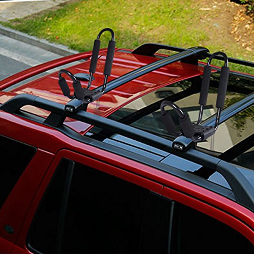 """Goplus Kayak Carrier Universal 2 Pair J- shape Rack Canoe Boat Surf Ski Roof Top Mounted on Car SUV Truck VAN 【Exquisite Craftsmanship】The Bars of this kayak transporter are made of 15mm thick steel tube, with four lashes which can hold 36"""" Wide and up to 150 lbs Kayak. All surfaces are covered with high caliber out - entryway paint, can oppose all climate condition and use for a long life.  【Rubber Pedal & Foam Protector】The froth cushioning and the elastic base cover are made of genuine elastic and froth. They are water and sun resistant.  【Indented Tubing Design】Indented tubing outline and solid, stable and pre-punched openings are for idealize alignment.  【Convenient to Use】Quick on/off equipment guarantees quick establishment and removal.  【Many Applications】J-Bar style effectively underpins distinctive payload, for example, Skis, Canoes, Paddle Boards and other open air gear."""