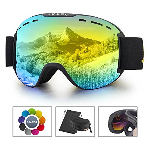 Jogoo Ski Goggles For Snowboard and Snowmobile,Interchangeable Lens and Magnetic Detachable Foam
