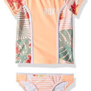 Roxy Girls' Lush Florals Short Sleeve Rashguard Swimsuit Set
