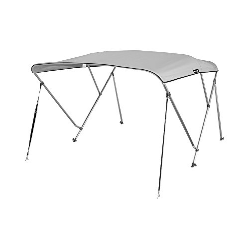 """6/'L x 46/""""H x 85/""""-90/""""W Color Gray 3Bow Bimini Boat Top Cover with storage boot"""