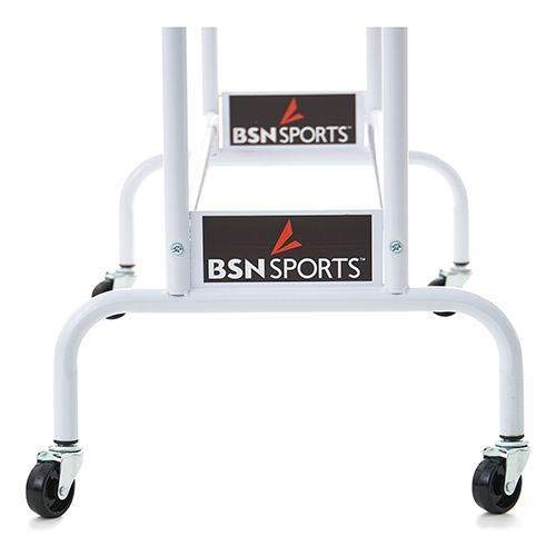 """BSN Sports Ball Cart Wide Base (12 Balls) Heavy obligation White powdercoated metal tubing  Non-marring, onerous rubber casters with a large, no-topple base  Designed for straightforward storage and removing of balls  12 Ball Cart - 40'W X 40""""H x 16"""" D"""
