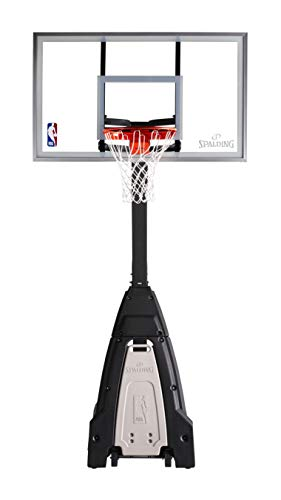 """Portable Basketball System - 60"""" Glass Backboard Merchandise might ship in multiple field and should arrive individually  Residential transportable basketball system adjusts from 7.5-Ft to 10-Ft  Grey inset cowl acts as a deal with for pre-play motion and a re-bounder throughout play  Two-piece, 5-Inch sq. angled pole system with screw in water degree gauge base cap"""