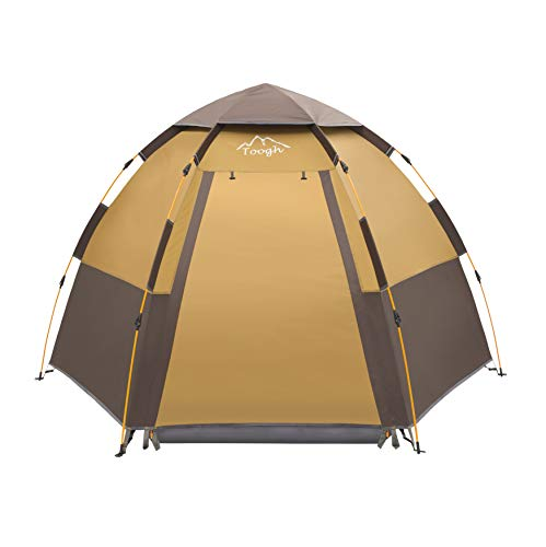 3-4 Person Camping Tent Backpacking Tents Hexagon Waterproof  【Distinctive and incredible design】The tent is Tremendous straightforward to arrange and take down in solely 60 seconds,Merely raise up the highest of the tent and it'll automated set up. Press the top of the pole at second which poles have yellow labels, robotically folding tent.