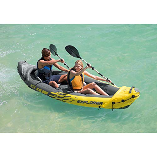 2-Person Inflatable Kayak Set with Aluminum Oars COMFORTABLE FOR ANYONE: Kayak consists of an adjustable inflatable seat with backrest;Cockpit designed for consolation and area  DIMENSIONS: Kayak measures 20 x 36 x 123 inches.Most weight capability: 400 kilos  DIRECTIONAL STABILITY: Detachable skeg for directional stability  INCREASED VISIBILITY: In case of emergency, shiny yellow coloration helps visibility  MADE FOR SMALLER BODIES OF WATER: Explorer K2 is made for smaller our bodies of water together with lakes and gentle rivers