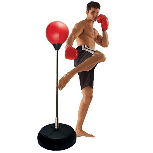 Punching Ball with Adjustable Height Stand Padded boxing gloves with re-closeable straps  Includes air inflation pump with needle  Skilled fashion punching bag  Water or sand crammed base holds set firmly in place