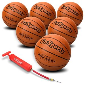 Rubber Basketball Six Pack with Pump & Carrying Bag