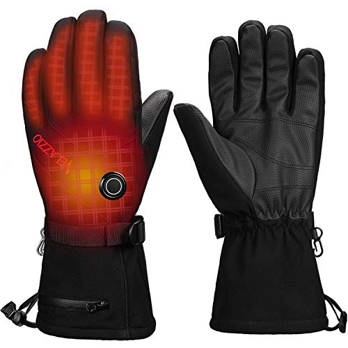 VELAZZIO Thermo1 Battery Heated Gloves - 3 Heating Levels w/Intelligent Control, up to 10hrs Warmth, 3M Thinsulate Waterproof Breathable Winter Gloves, Touchscreen Compatible Ski Gloves Men & Women