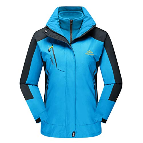 CRYSULLY Women's Winter Mountain 3-in-1 Windbreaker Jackets Fleece Inner Rain Snow Coat Removable Hood