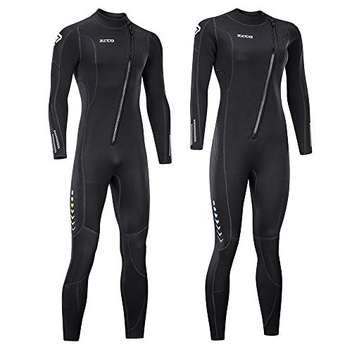 ZCCO Ultra Stretch 3mm Neoprene Wetsuit, Front Zip Full Body Diving Suit, one Piece for Men-Snorkeling, Scuba Diving Swimming, Surfing