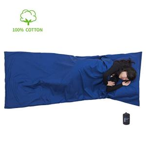 "Browint Cotton Travel Sheet, Camping Sheet, Sleeping Bag Liner with Pillow Pocket, Cotton Bedding Sack for Hotel, Lightweight and Soft Travel Liner, Reinforced Gussets, 87""x36"""