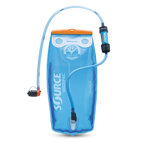 Source Outdoor 2L Widepac Bladder for Hydration Packs - Including Inline Sawyer Mini Water Filter - High-Flow Helix Bite Valve - Zero Taste and Virtually Self-Cleaning - 70oz