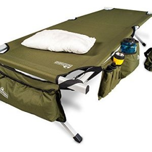 EARTH Ultimate Extra Strong Military style Folding Camp Cots (5-YEAR WARRANTY) Camping Cot w/Side Storage Bag System and Mini Pillow