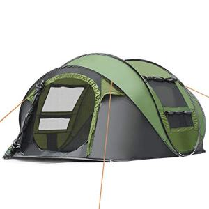 IC ICLOVER Camping Tents 3-4 Person Pop Up Family Tent [2 Door] [4 Mesh Windows] [Waterproof] 4 Season Automatic Setup Big Dome Shelter for Hiking Picnic Backpacking Travel Green