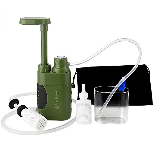 SurviMate Portable Water Filter Pump for Hiking Camping Travel Emergency use with Activated Carbon & 3 Filter Stages,2 Replaceable Pre-Filter (Green) (Pump)