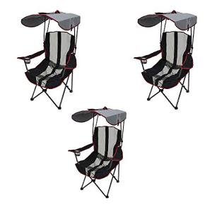 Kelsyus Premium Canopy Foldable Outdoor Lawn Chair with Cup Holder, Red (3 Pack)