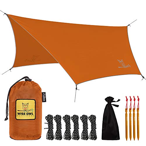 Wise Owl Outfitters Rain Fly Tarp - The WiseFly Premium 11 x 9 ft Waterproof Camping Shelter Canopy - Lightweight Easy Setup for Hammock or Tent Camp Gear - 6 Styles