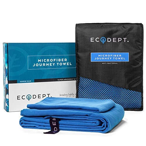 """ECOdept Microfiber Travel Towel ~ Super Absorbent & Quick Dry ~ Essential Backbacking, Camping, Gym, Sports, Swimming & Beach Gear ~ Large 52"""" x 32"""" with Free Hand Towel in Gift Box"""